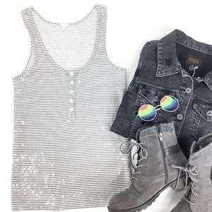 J. CREW SEQUINED STRIPED TANK GRAY AND WHITE